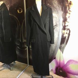 Calvin Klein Black Wool Long Ankle-Length Peacoat